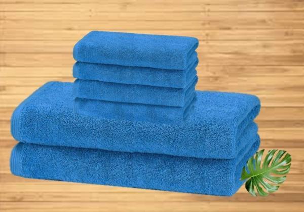Blue 6 pcs towel set